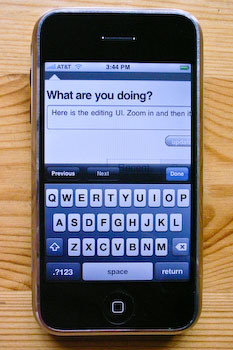 An iPhone displaying the Twitter.com editing field, default zoom.