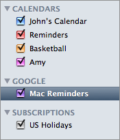 Screenshot of iCal's source list after setting up a Google Calendar account.