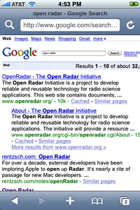Zoomed-in version of Google web search results on the iPhone, after a query initiated through the MobileSafari toolbar.