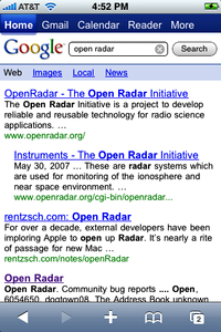 Google web search results on the iPhone, after a query initiated on www.google.com.