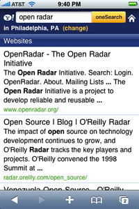 Yahoo web search results on the iPhone, after a query initiated through the MobileSafari toolbar.
