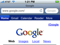 "Matt Gough's mockup of an iPhone Safari toolbar with the search box reduced to fit the length of the ""Google"" label."
