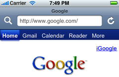 Screenshot of toolbar from Safari in iPhone OS 2.1.