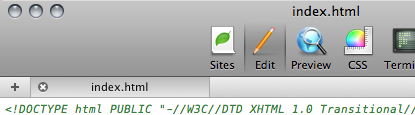 Cropped image of the tab bar in Coda 1.6.
