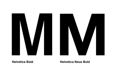 Comparison of uppercase M character in Helvetica and Helvetica Neue.