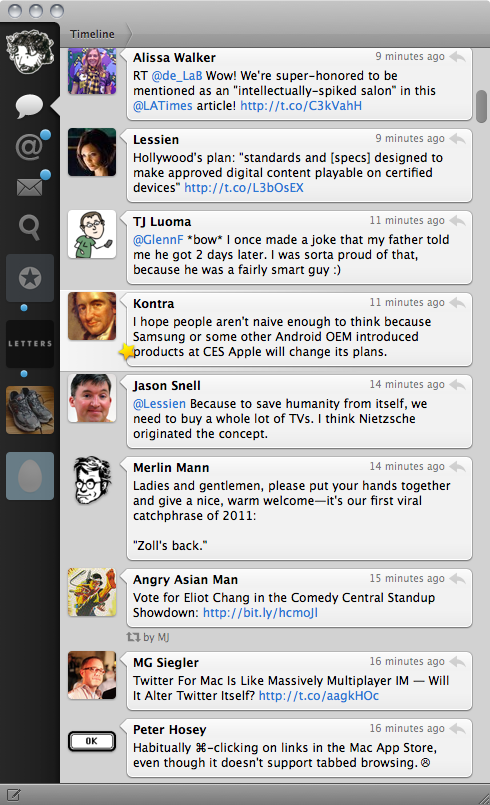 Screenshot of Twitter for Mac 2.0