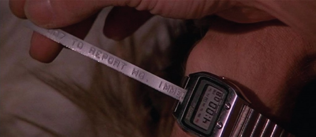 "James Bond's Seiko digital watch receiving a message from MI6 in ""The Spy Who Loved Me"""