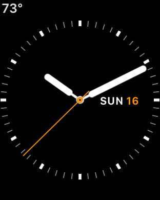 Screenshot of the Utility watch face on a Series 3 Apple Watch.