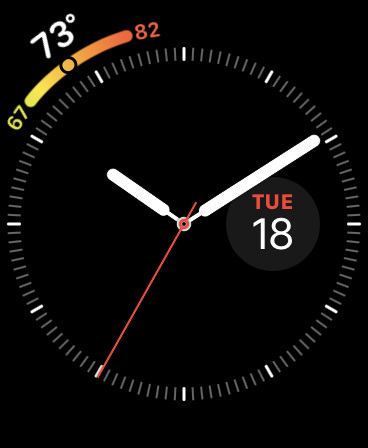 Screenshot of the Utility watch face on a Series 4 Apple Watch.