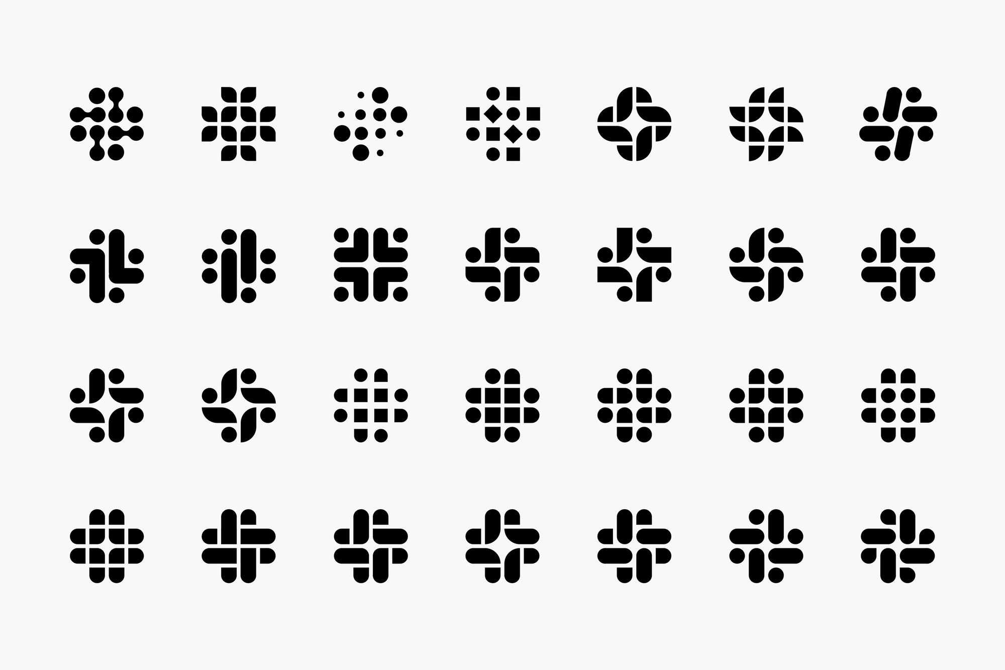 "A 7×4 grid of proposed ""octothorp"" marks."