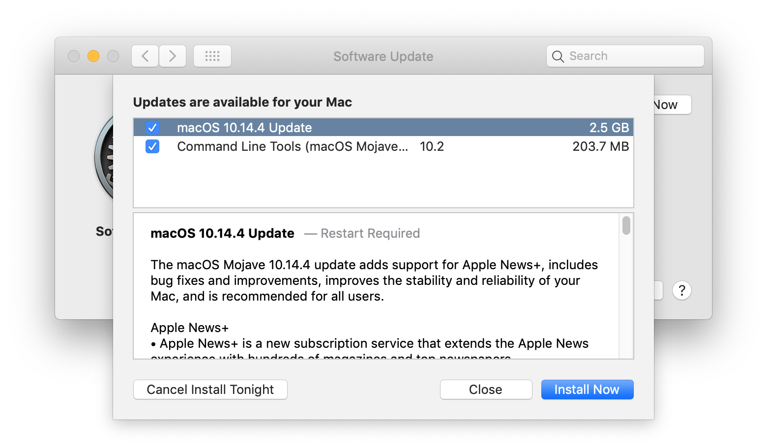 Screenshot of the software update release notes in System Preferences in MacOS 10.14.