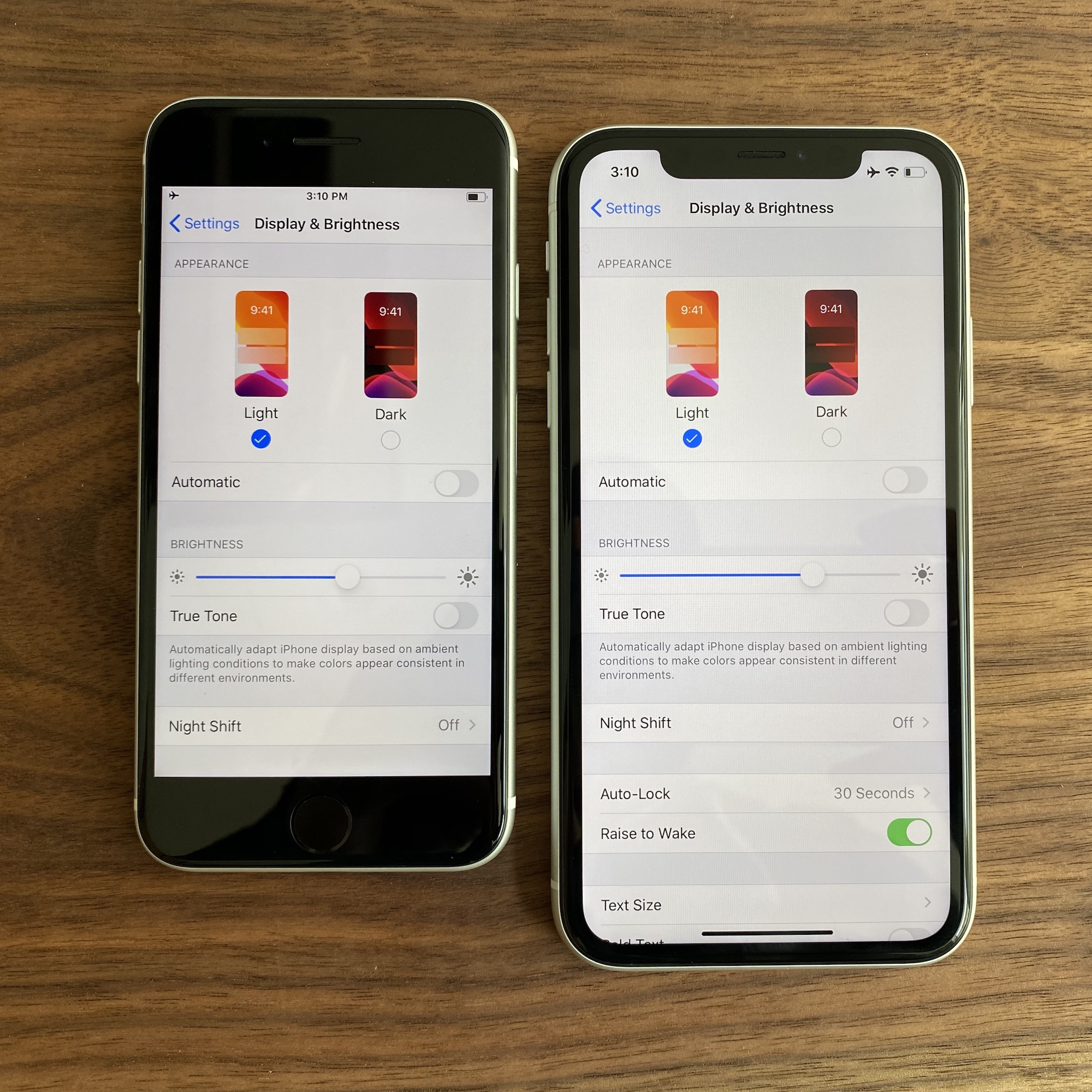 An iPhone SE next to an iPhone XR, both showing the Settings → Display and Brightness screen.
