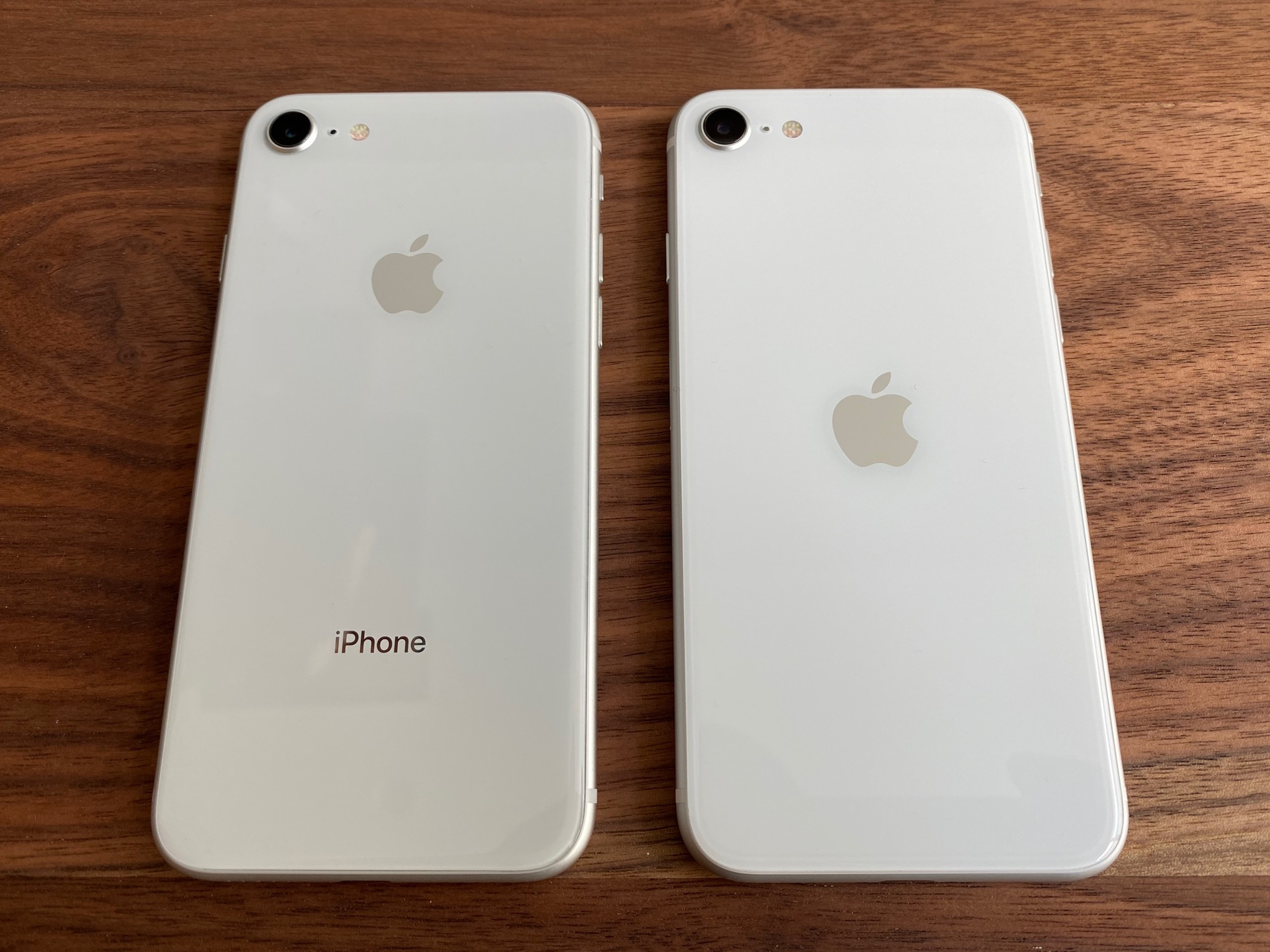 A silver iPhone 8 and white iPhone SE, faces down.