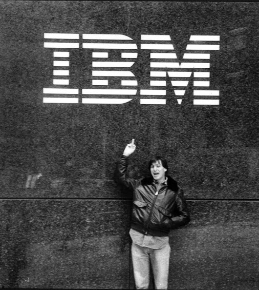 Steve Jobs outside IBM's Manhattan headquarters in 1983.