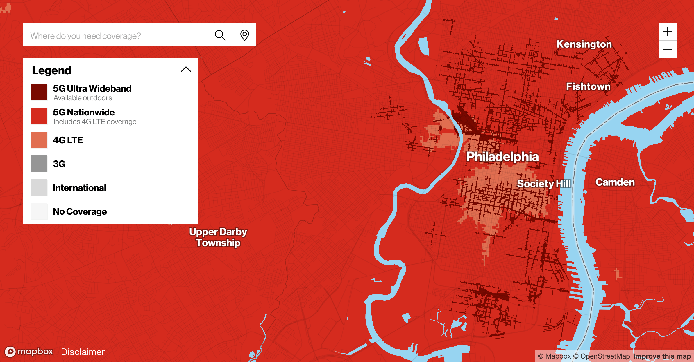 Verizon's coverage map for Center City Philadelphia.