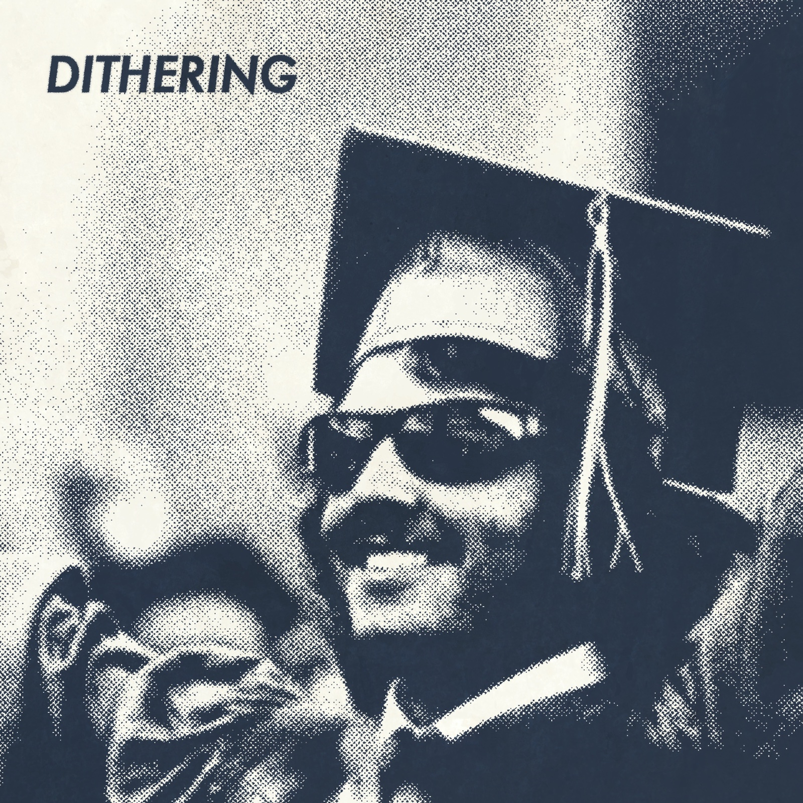 June 2021 cover art for Dithering, featuring a young man in cap and gown celebrating graduation.
