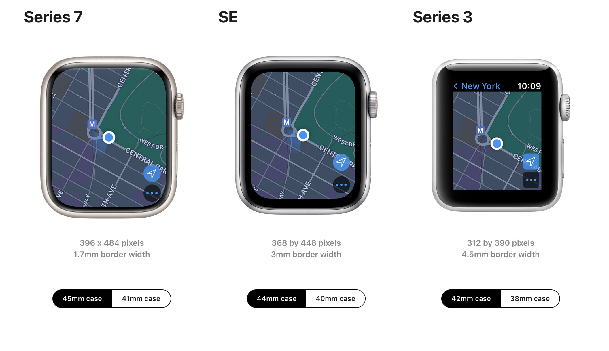 Screenshot from Apple's Apple Watch Compare page, showing the Series 7, SE, and Series 3 watches side-by-side, all of them displaying the Maps app.