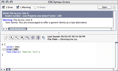 Screenshot of CSS Syntax Check results browser